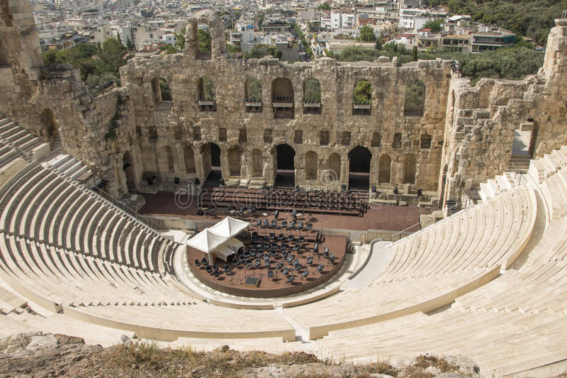 Odeon d'Atticus de Herodes, Acropole, Grèce image stock