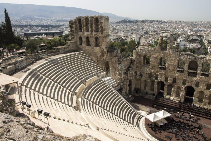 Odeon d'Atticus de Herodes, Acropole, Grèce photographie stock libre de droits