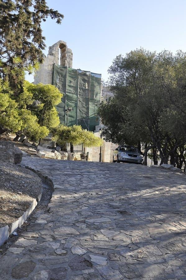 Odeon da herança arqueológico do Atticus de Herodes de Atenas em Grécia imagens de stock