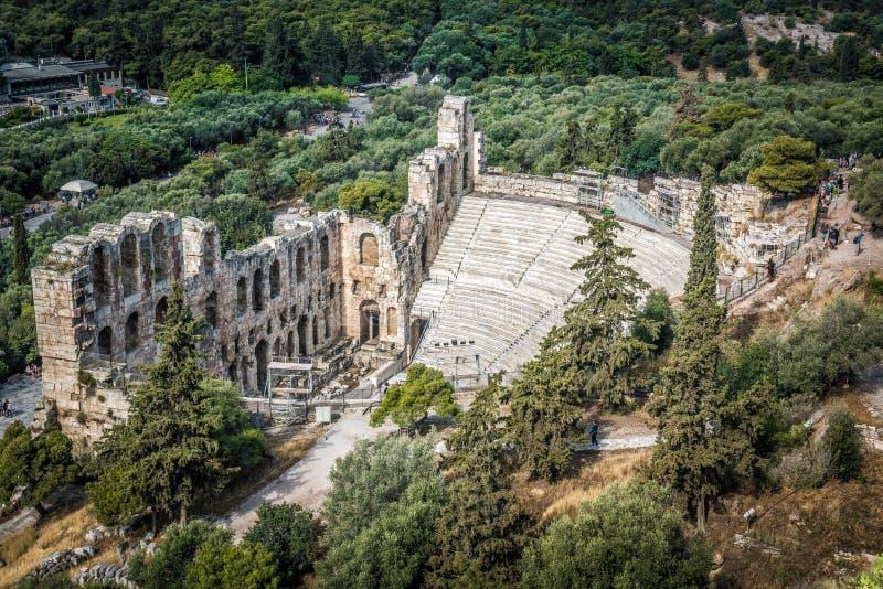 Odeon del Atticus de Herodes en la acrópolis, Atenas, Grecia fotografía de archivo libre de regalías