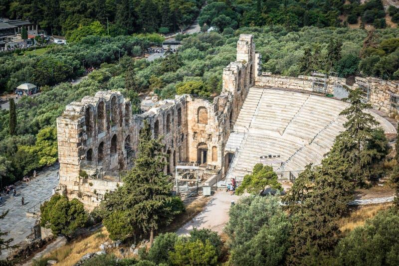 Odeon del Atticus de Herodes en la acr?polis, Atenas, Grecia imagenes de archivo