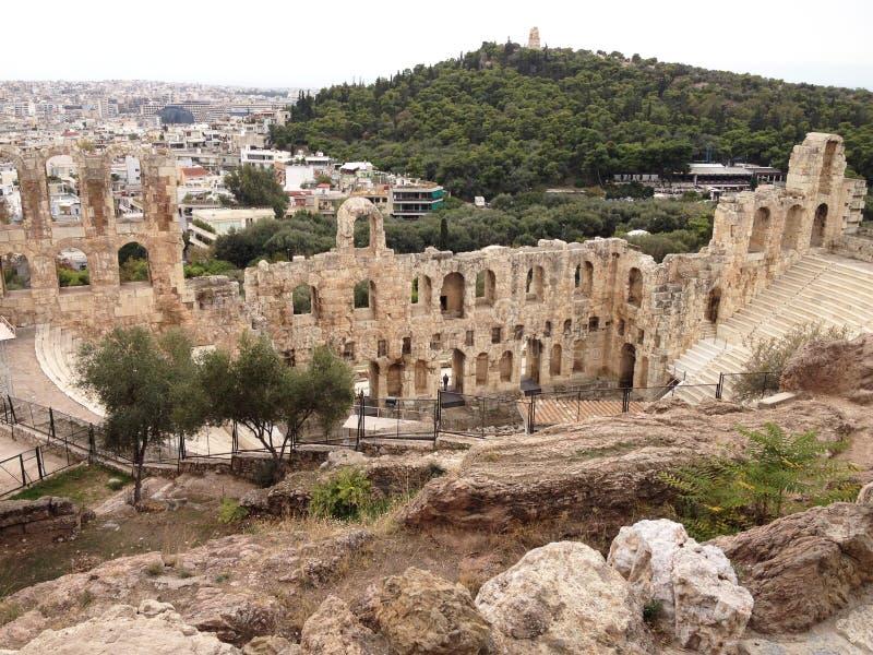 Odeon del Atticus de Herodes en la ciudad de Atenas imagen de archivo