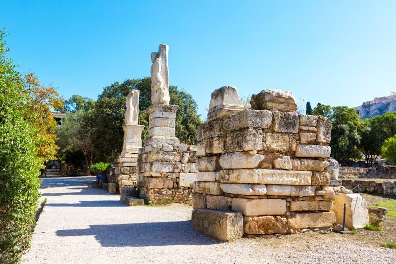 Odeon des statues d'Agrippa en agora antique, Athènes, Grèce photographie stock