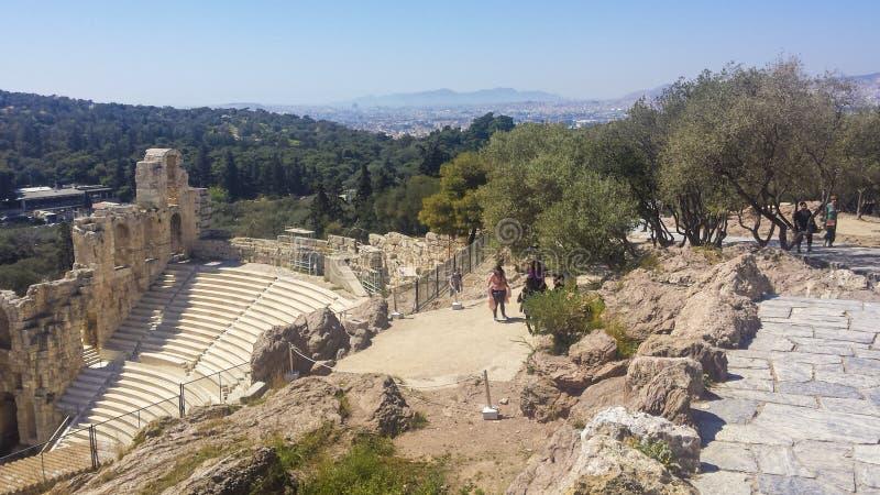 Odeon do Atticus de Herodes imagens de stock royalty free