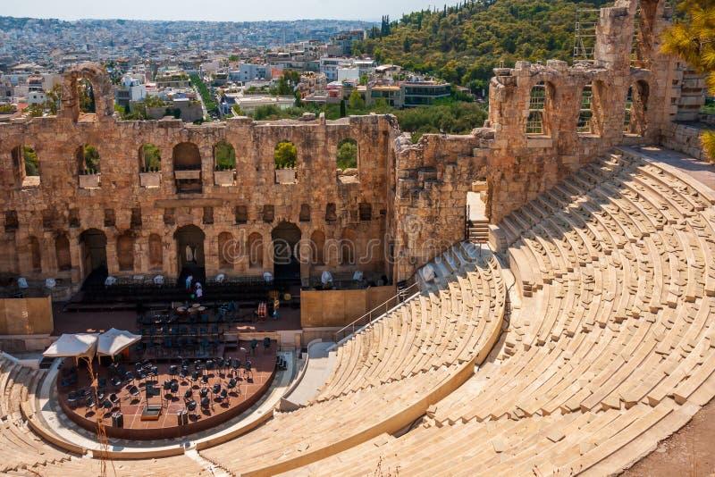 Odeon do Atticus de Herodes, Atenas fotos de stock