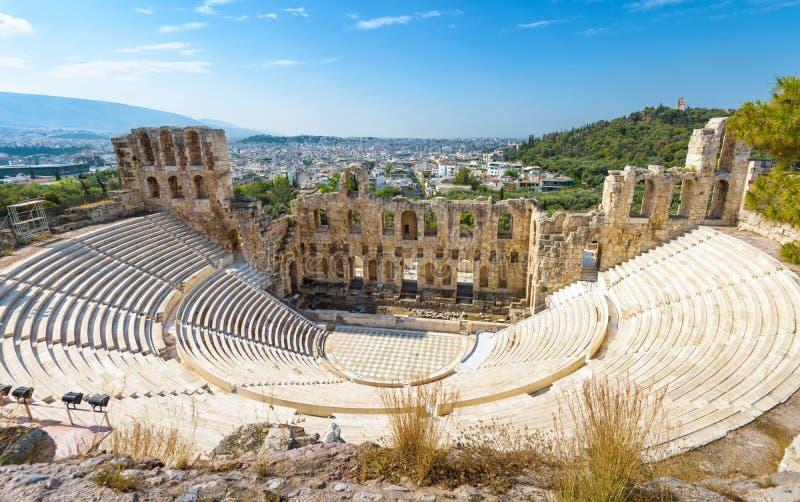 Odeon do Atticus de Herodes na acrópole de Atenas fotos de stock royalty free