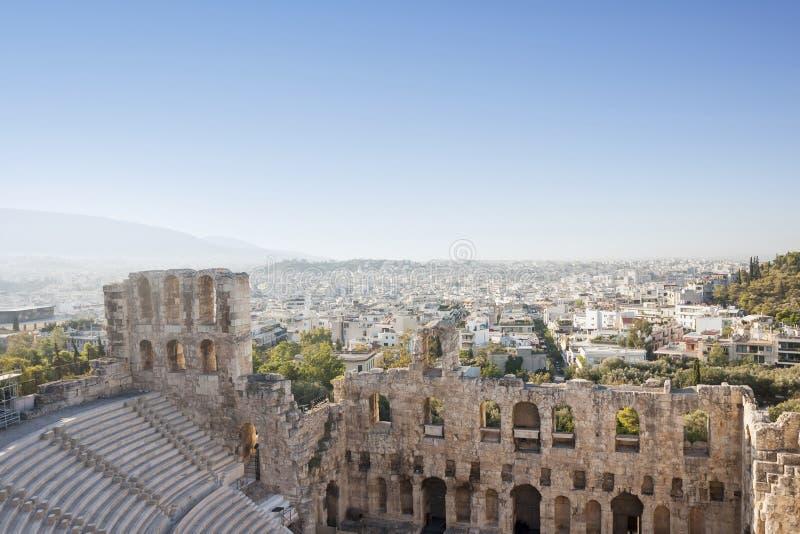 Odeon do Atticus de Herodes na acrópole de Atenas imagem de stock royalty free