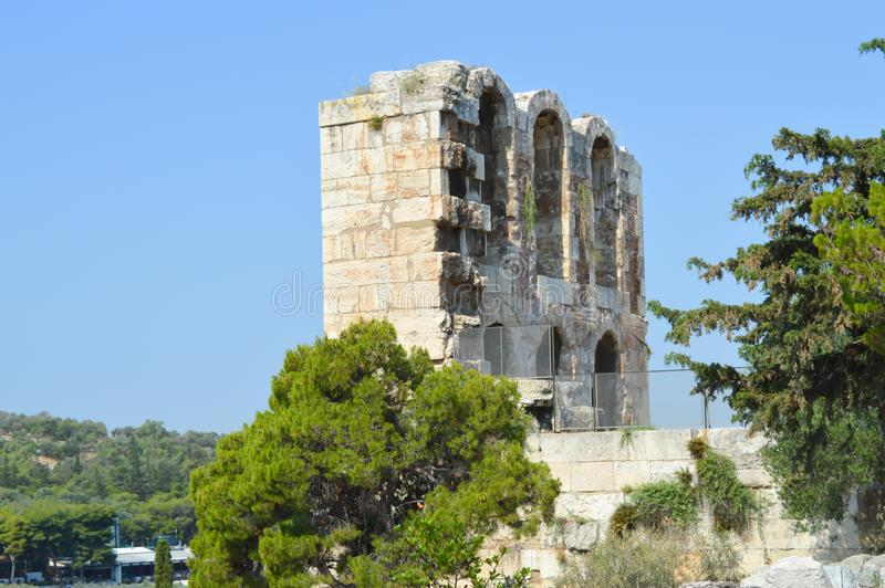 Odeon of Herodes Atticus in Acropolis in Athens, Greece on June 16, 2017. ATHENS, GREECE - JUNE 16: Odeon of Herodes Atticus in Acropolis in Athens, Greece on royalty free stock photo