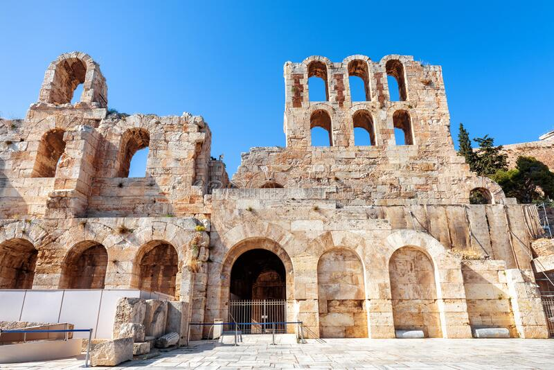 Odeon Of Herodes Atticus At The Acropolis Athens Greece Stock Photo Image Of Music Ancient 131304534