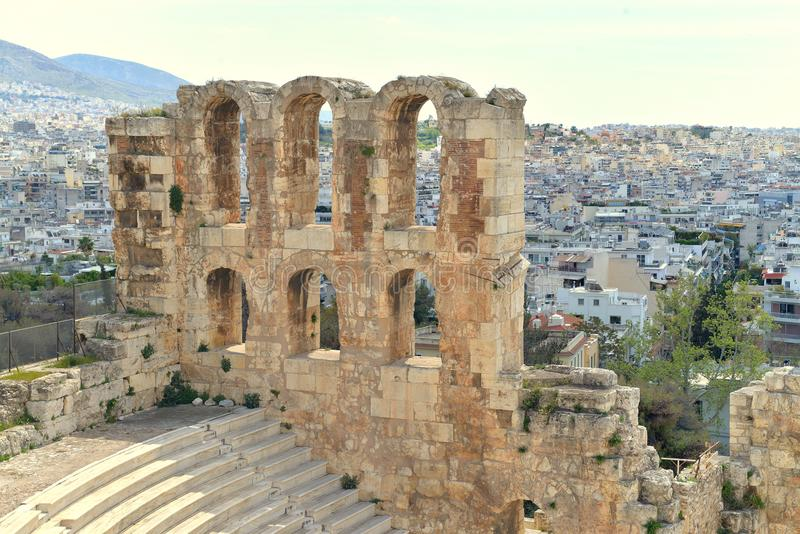 Odeon of Herodes Atticus with Athens in the background stock image