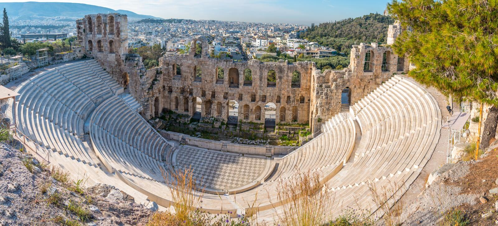 Odeon of Herodes Atticus in Athens, Greece. Odeon of Herodes Atticus as seen from the Acropolis Hill in Athens, Greece stock photo