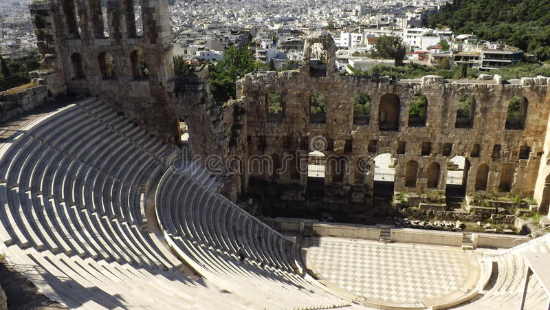 The Odeon Theater of Herodes Atticus, Acropolis, Athens. The Odeon Theater of Herodes Atticus. It is located on the South Slope of the Acropolis, Athens royalty free stock photos