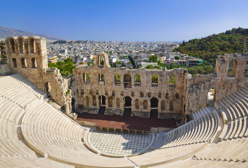 The Odeon theatre at Athens, Greece royalty free stock photos