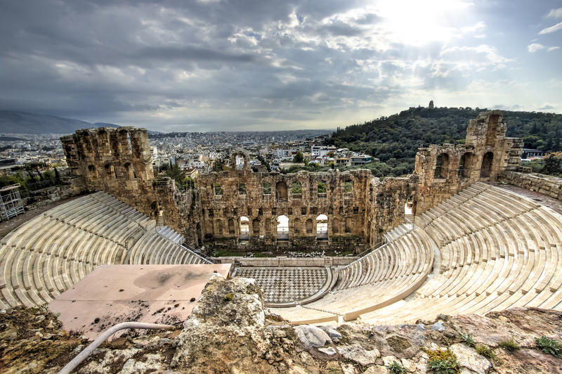 Odeon Theatre in Athens, Greece royalty free stock photo