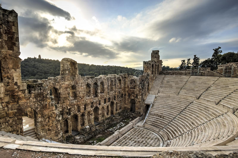 Odeon Theatre in Athens, Greece royalty free stock image