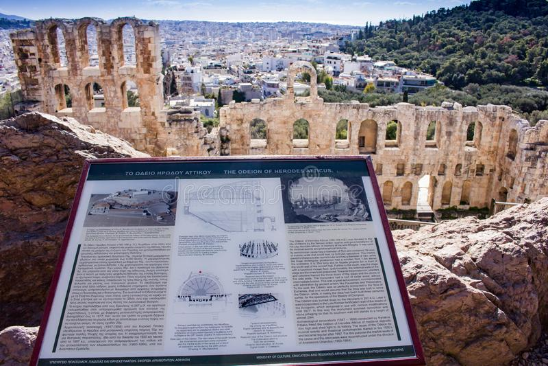 Odeon von Herodes-Atticus und von Stadt von Athen lizenzfreie stockbilder