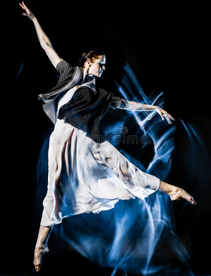 Odern ballet dancer dancing woman isolated black bacground stock images