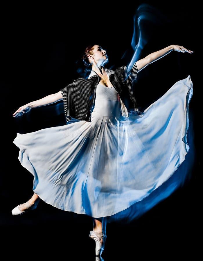 Odern-Ballettt?nzer-Tanzen Frau lokalisiertes schwarzes bacground lizenzfreie stockfotografie