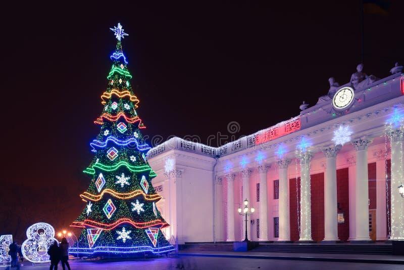 Odesa,乌克兰- 2018年1月, 7日:圣诞节和新年装饰 免版税库存照片