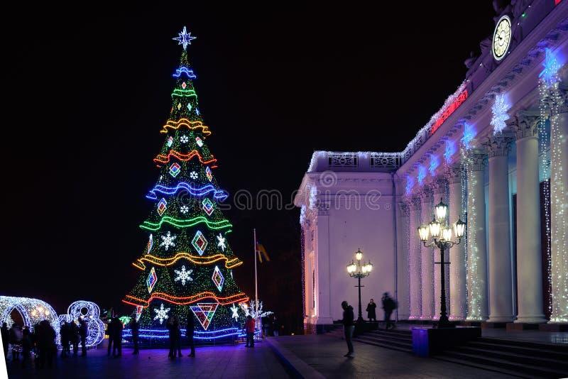 Odesa Ukraina - Januari, 7, 2018: Dekor för jul och för nytt år royaltyfria bilder