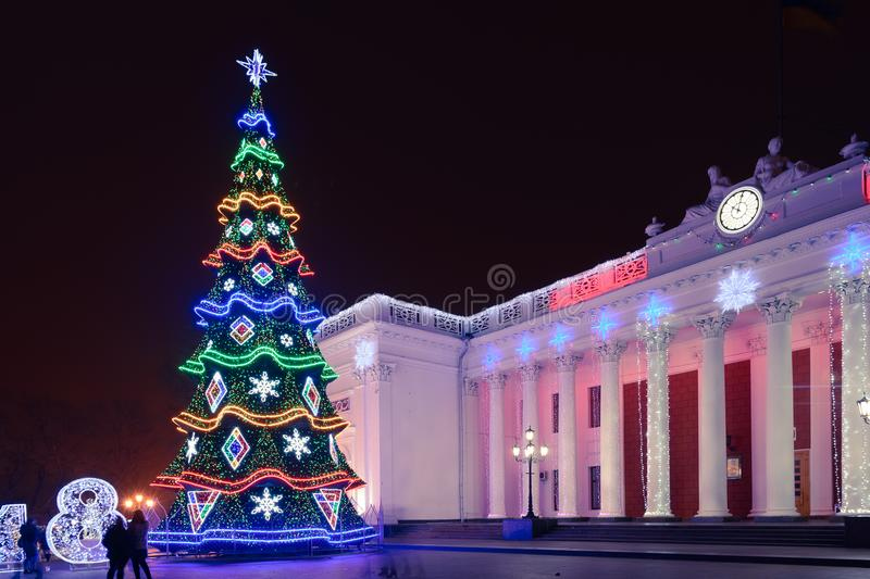 Odesa, Ukraine - January, 7, 2018: Christmas and New Year decor. In Odesa on Prymorskyi Boulevard. Glowing Christmas tree near the city council of Odesa royalty free stock photo