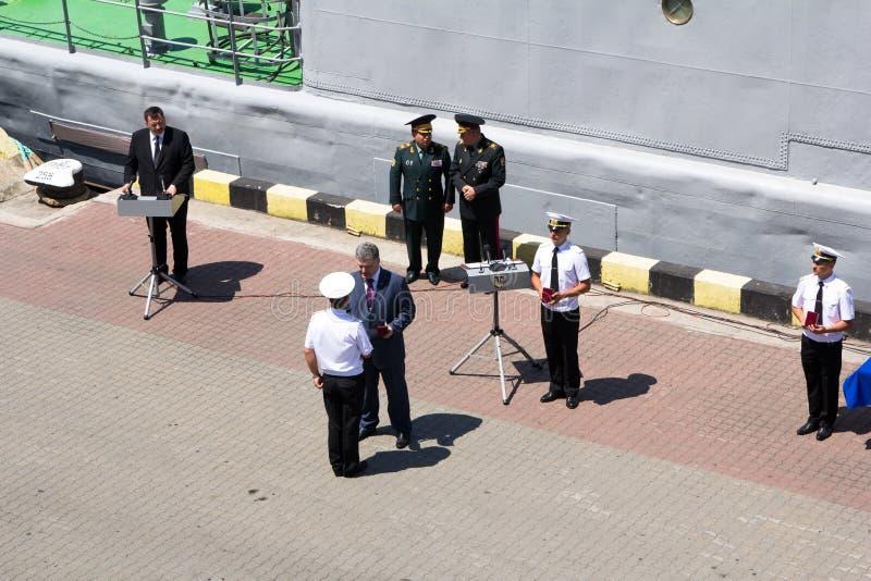 Odesa, Ukraine - July 03, 2016: President Petro Poroshenko awards sailors and soldiers on the pier the Odessa port. Navy stock photography