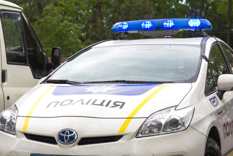 Odesa, Ukraine - May 15, 2016: Ukrainian police patrol car in the park royalty free stock image