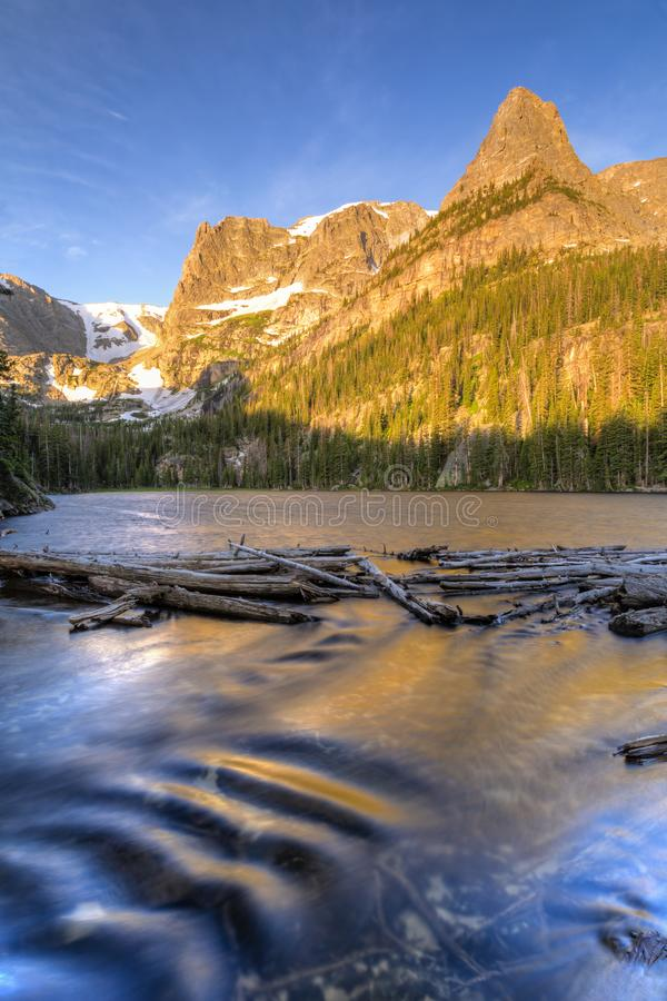 Odessa Lake Outlet Flow. The Odessa Lake outlet below Little Matterhorn and Notchtop Mountains and the Ptarmigan Pass in Rocky Mountain National Park, Colorado stock photo
