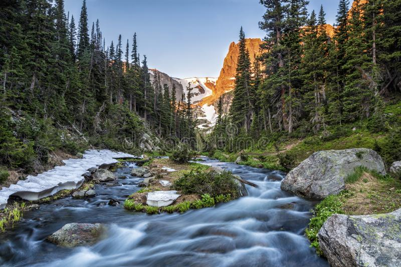 Odessa Lake Outlet and Notchtop Mountain Sunrise. Fern creek flows out of Odessa Lake below Notchtop Mountain and the Ptarmigan Pass seen through the forest in royalty free stock photography