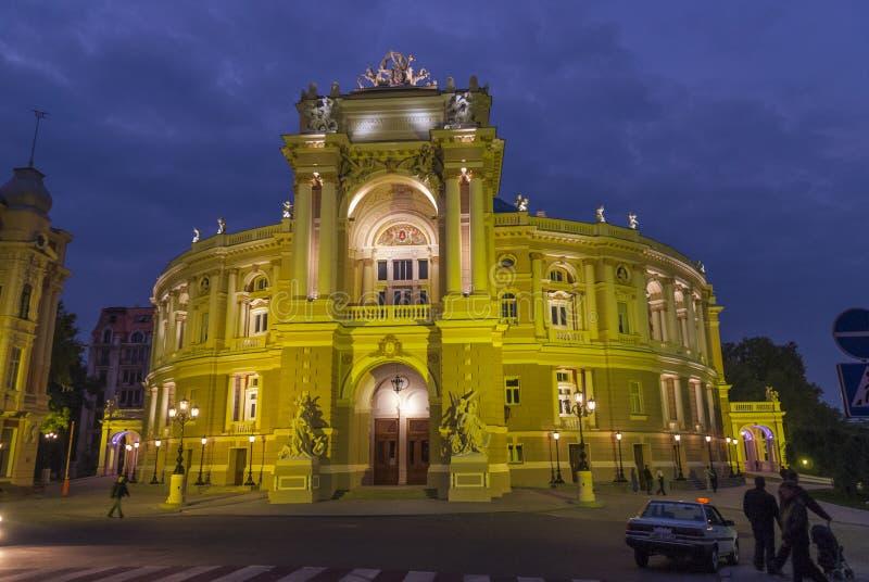 Odessa Opera House am Abend lizenzfreies stockfoto