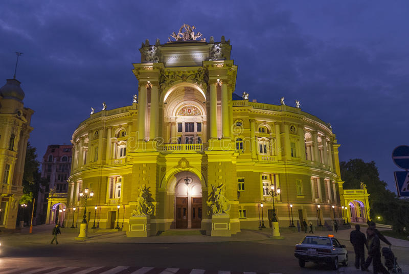 The Odessa Opera House in the Evening royalty free stock photo