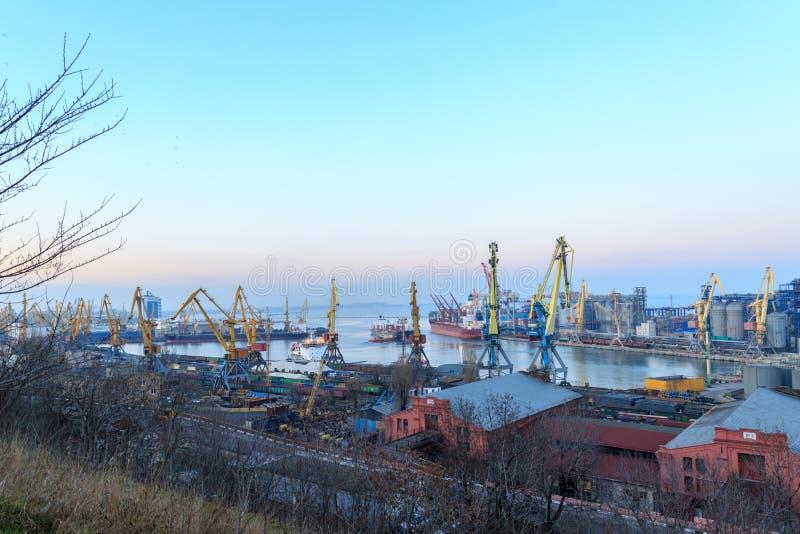 Odessa port during dawn time stock photos