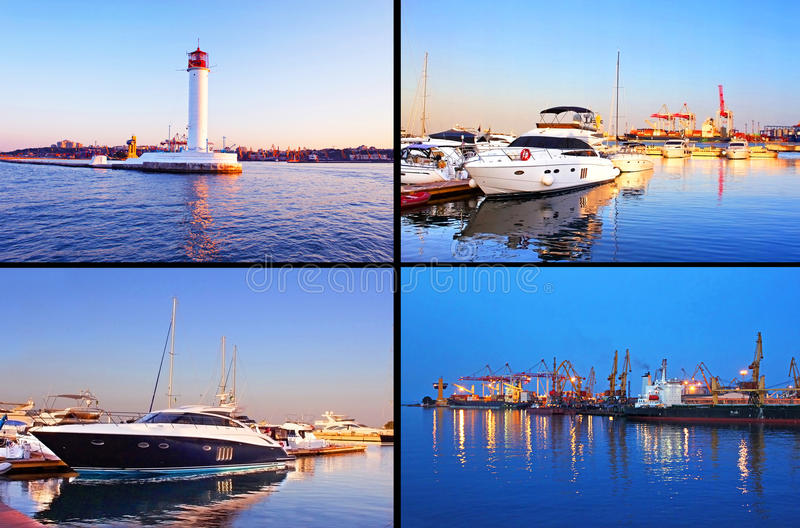 Odessa port in the evening royalty free stock photo