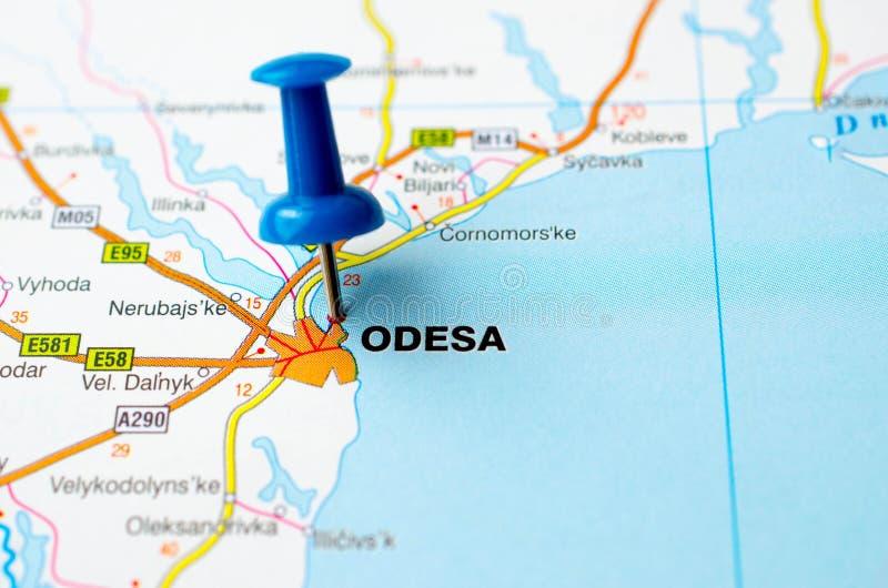 Odessa sur la carte photographie stock libre de droits