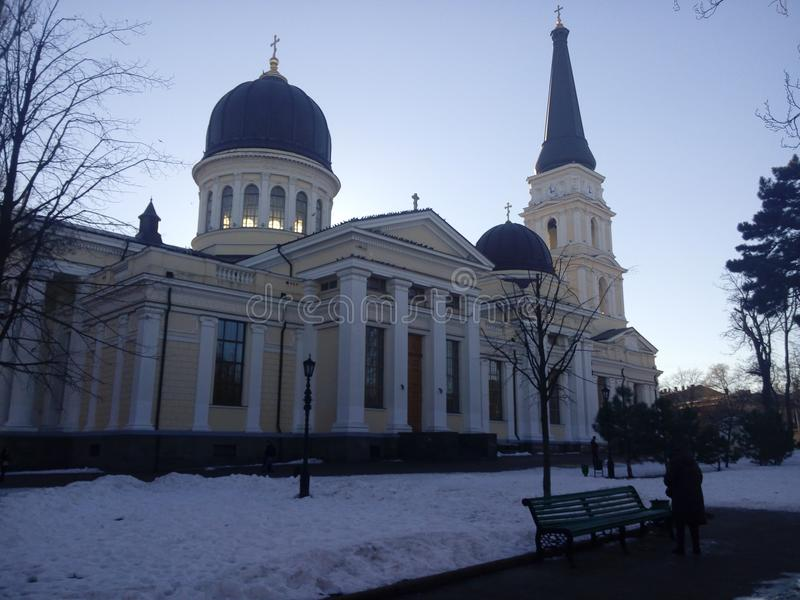 Odessa temple on the cathedral square royalty free stock photo