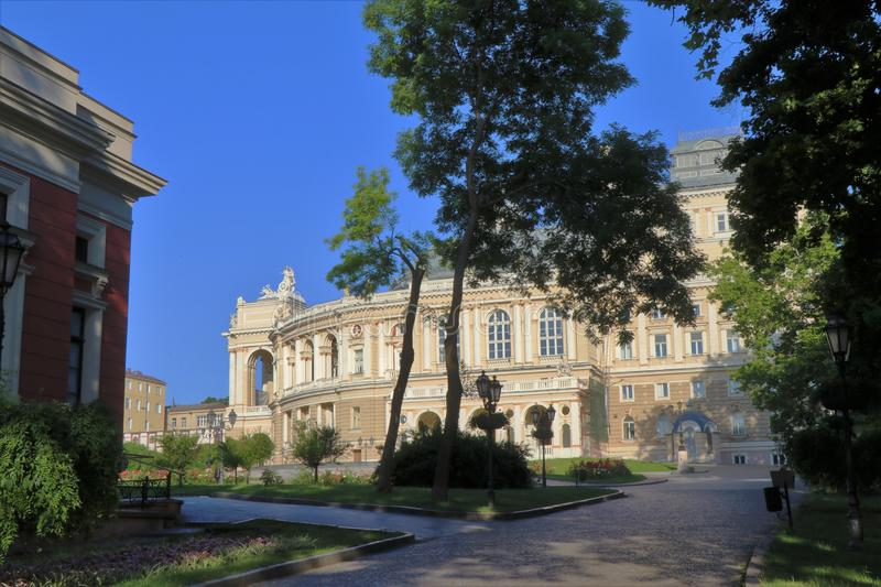 Odessa, Ukraine. Close-up view of the Odessa national opera and ballet theater, with all its details stock image