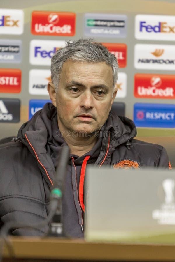 Odessa, Ucraina - 7 dicembre 2016: il primo allenatore, Manchester si unisce immagine stock libera da diritti