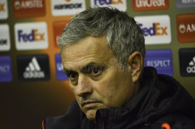 ODESSA UKRAINA - December 08, 2016: Lagledare Jose Mourinho på en pr royaltyfri bild