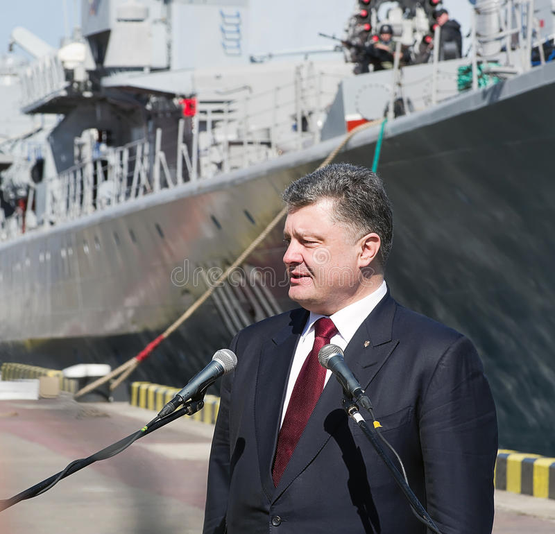 Odessa, Ukraine - 10 April, 2015: The President of Ukraine Petro Poroshenko checked the service of a military frigate. Of the Ukrainian Navy, Getman Sahaidachny royalty free stock photography