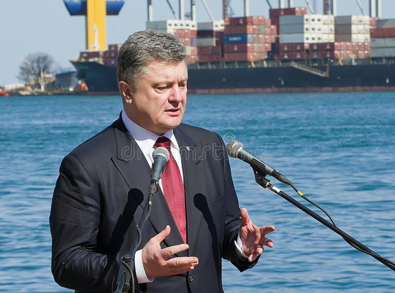 Odessa, Ukraine - 10 April, 2015: The President of Ukraine Petro. Poroshenko checked the service of a military frigate of the Ukrainian Navy, Getman Sahaidachny royalty free stock photos