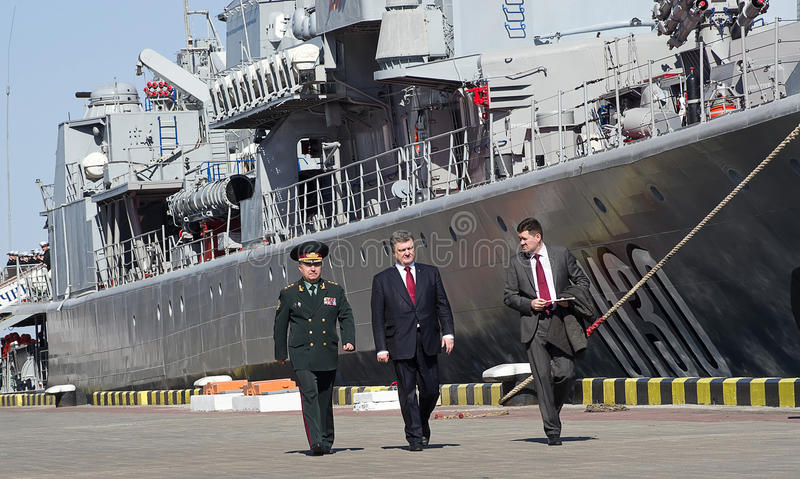 Odessa, Ukraine - 10 April, 2015: The President of Ukraine Petro. Poroshenko checked the service of a military frigate of the Ukrainian Navy, Getman Sahaidachny royalty free stock photo