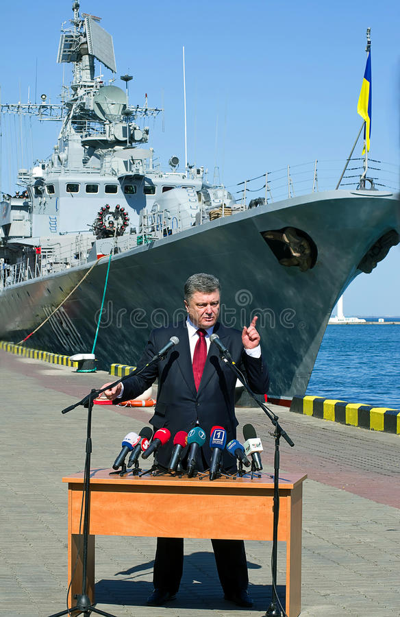 Odessa, Ukraine - 10 April, 2015: The President of Ukraine Petro. Poroshenko checked the service of a military frigate of the Ukrainian Navy, Getman Sahaidachny stock photo
