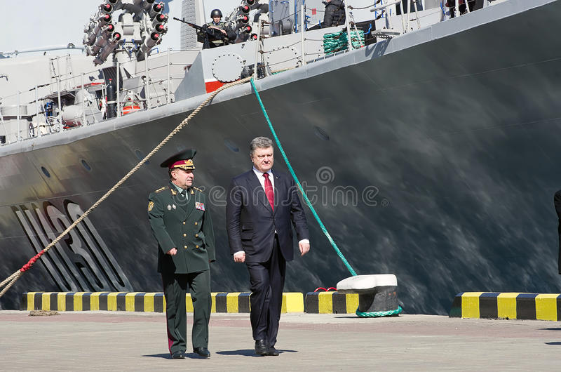 Odessa, Ukraine - 10 April, 2015: The President of Ukraine Petro. Poroshenko checked the service of a military frigate of the Ukrainian Navy, Getman Sahaidachny stock images