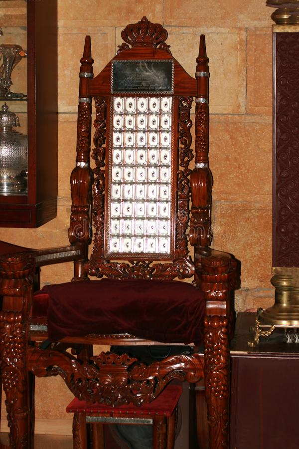 Odessa, Ukraine - April 20, 2018 The throne of the prophet Elijah in the synagogue. Chair for circumcision. Odessa, Ukraine - April 20, 2018 The throne of the royalty free stock image