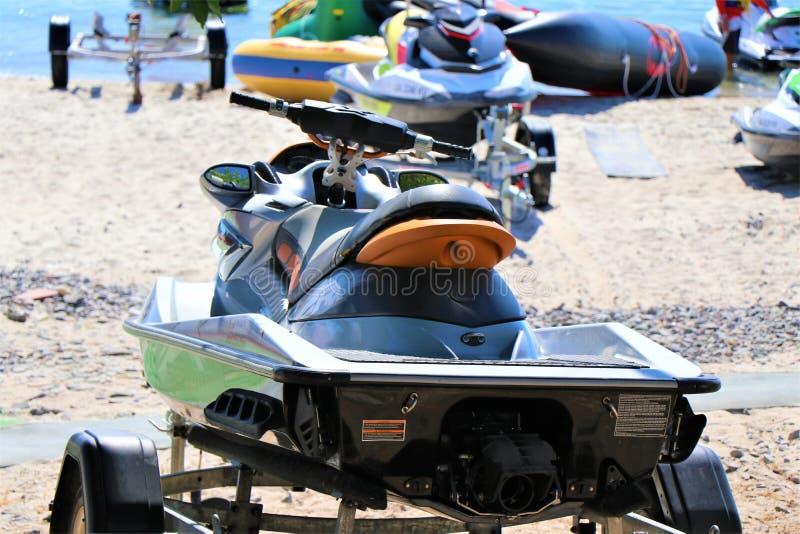 Odessa, Ukraine Auf diesem Strand ist es möglich, einen Jet-Ski zu mieten und zu fahren lizenzfreie stockfotografie