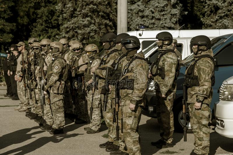 ODESSA, UKRAINE - August 1, 2018: Special forces of the Ukrainian police in the ranks in full combat form with special weapons. Ur. Kaain special forces of the royalty free stock photo
