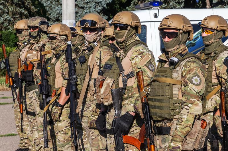 ODESSA, UKRAINE - August 1, 2018: Special forces of the Ukrainian police in the ranks in full combat form with special weapons. Ur. Kaain special forces of the stock images
