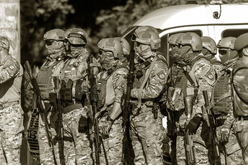 ODESSA, UKRAINE - August 1, 2018: Special forces of the Ukrainian police in the ranks in full combat form with special weapons. Ur. Kaain special forces of the royalty free stock photography