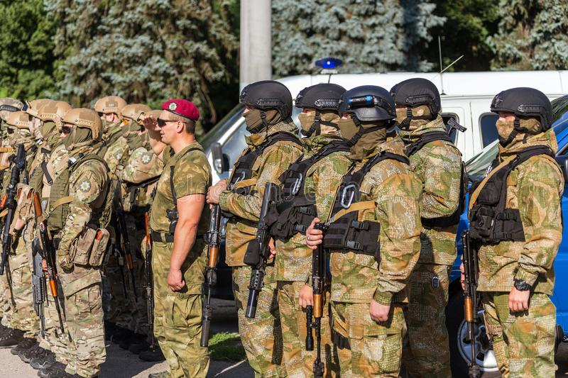 ODESSA, UKRAINE - August 1, 2018: Special forces of the Ukrainian police in the ranks in full combat form with special weapons. Ur. Kaain special forces of the stock photo