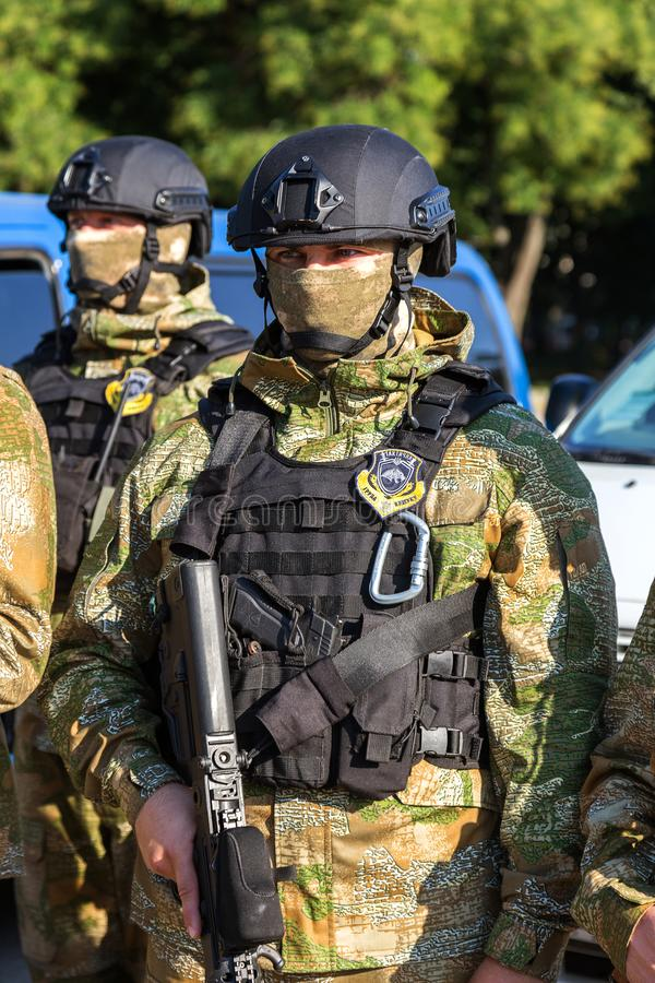 ODESSA, UKRAINE - August 1, 2018: Special forces of the Ukrainian police in the ranks in full combat form with special weapons. Ur. Kaain special forces of the royalty free stock image